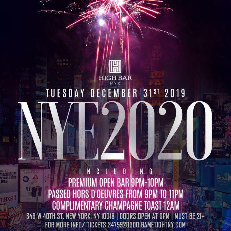 Tuesday December 31st, 2019 Highbar Rooftop New Years