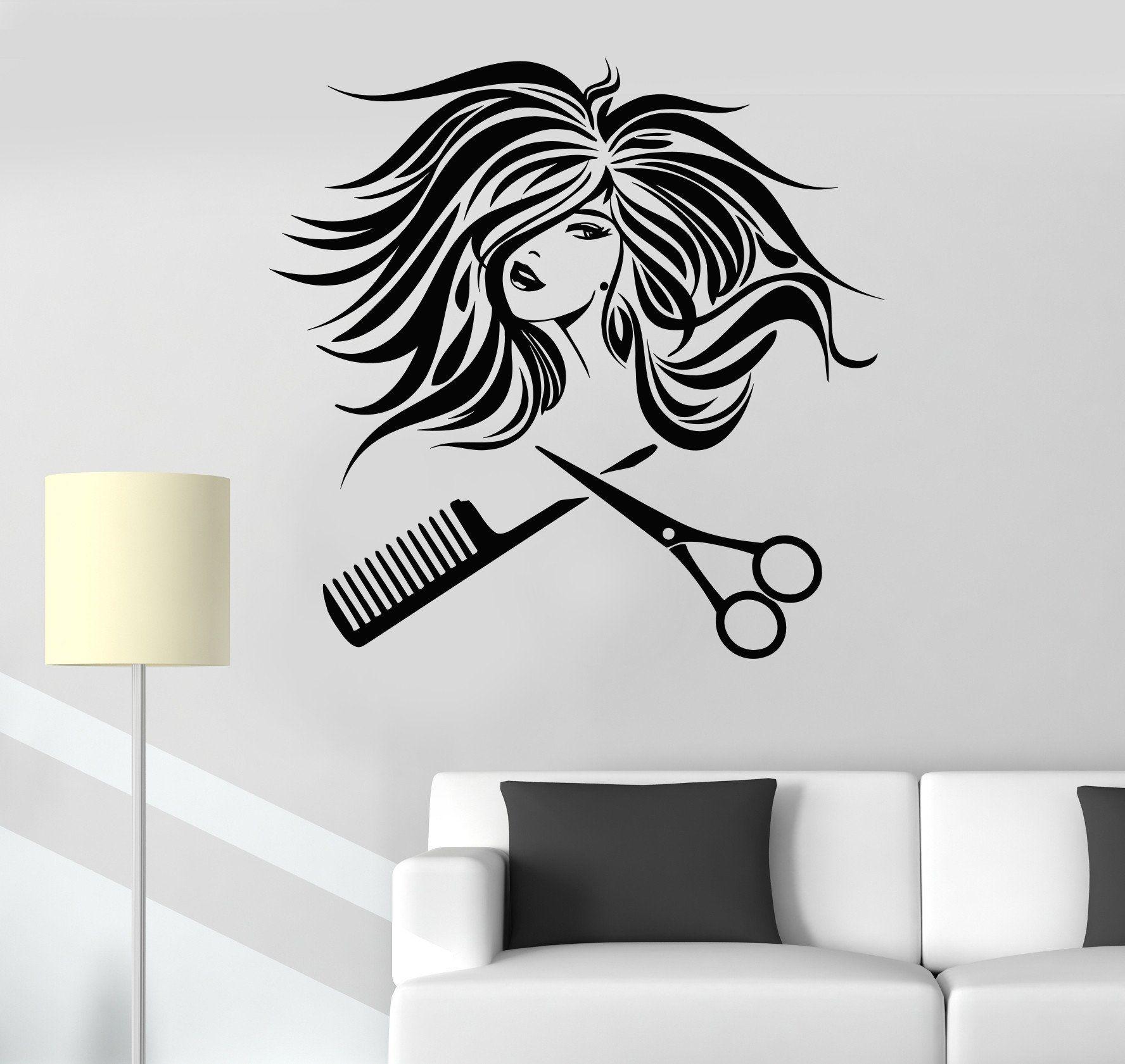 Vinyl Wall Decal Hair Salon Woman Beauty Hairdresser
