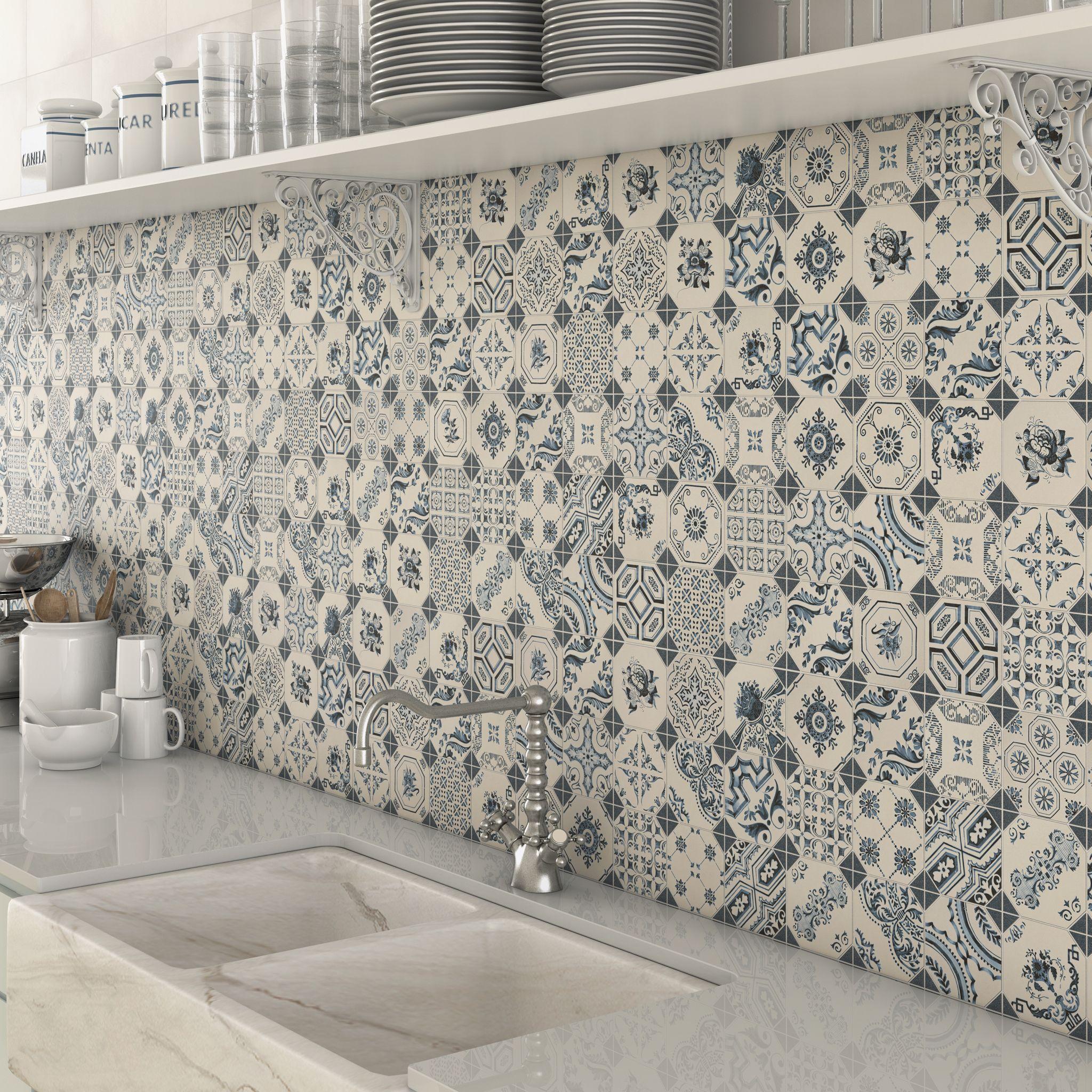 Bologna Blue Pattern Mosaic Tiles Used As A Splashback Tile In