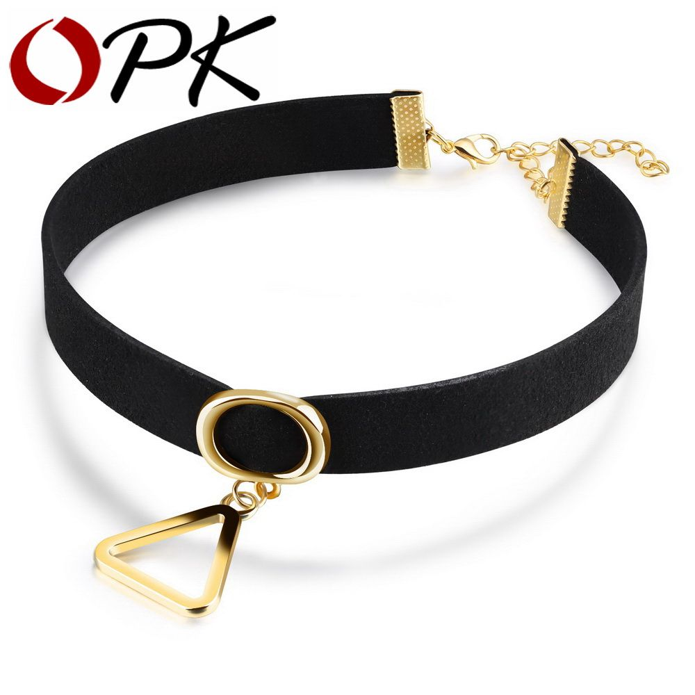 Opk gothic choker necklace for women hollow triangle design with