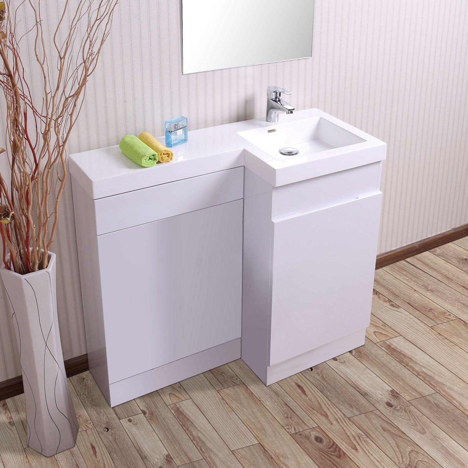 Aston Right Hand White Gloss Bathroom White Basin Vanity Unit U0026 Toilet Unit    1000mm
