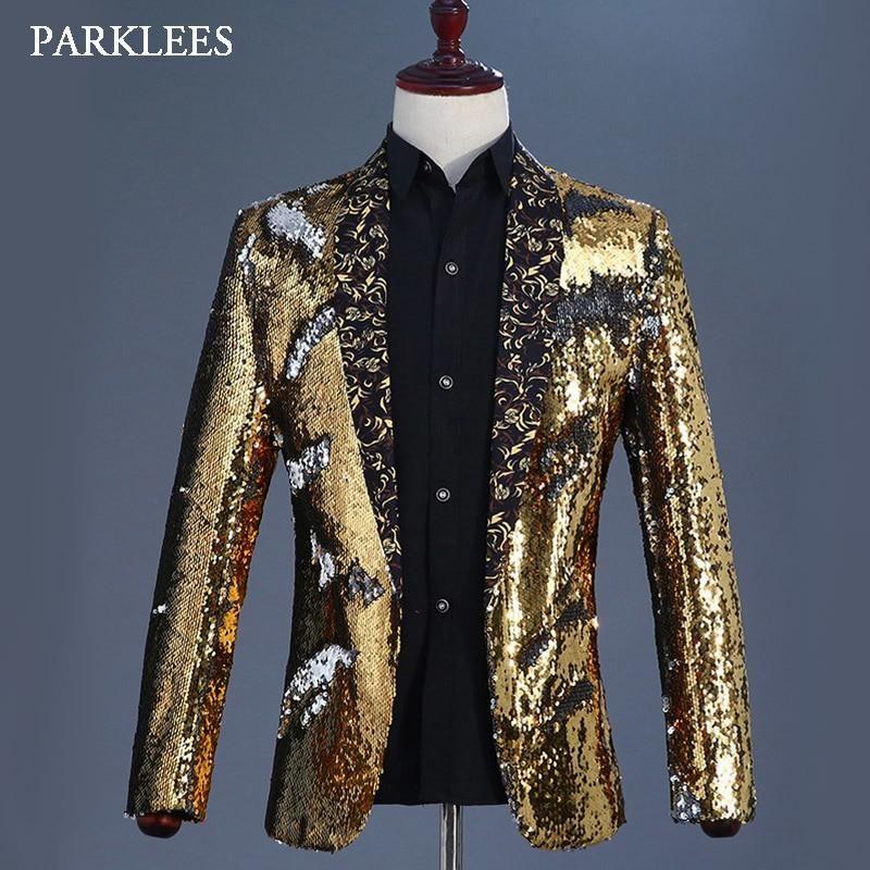5ae51b68f30b6 Gold Flipping Sequins Blazer Jacket Men Floral Shawl Collar Mens Glitter  Blazers Nightclub Wedding Party Prom DJ Singer Costumes