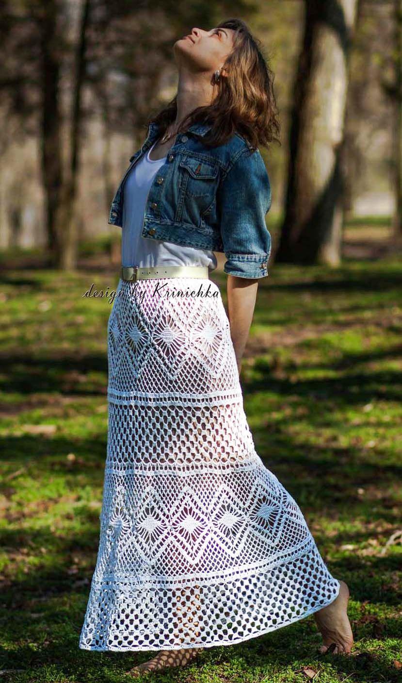 crochet maxi skirt, boho maxi skirt, bohemian skirt, Krinichka ...