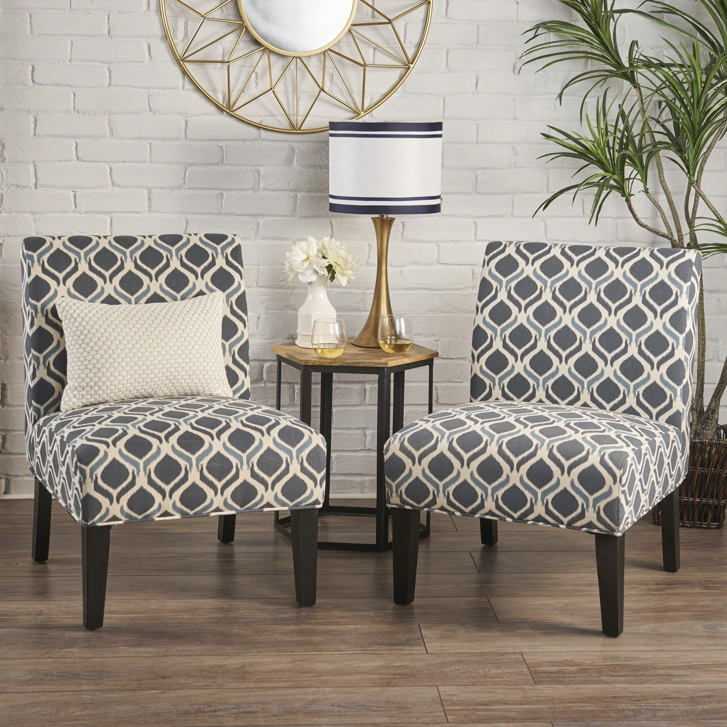 Saloon Fabric Print Accent Chair Set Of 2 By Christopher Knight Home Printed Accent Chairs Accent Chair Set Blue Accent Chairs #printed #living #room #chairs
