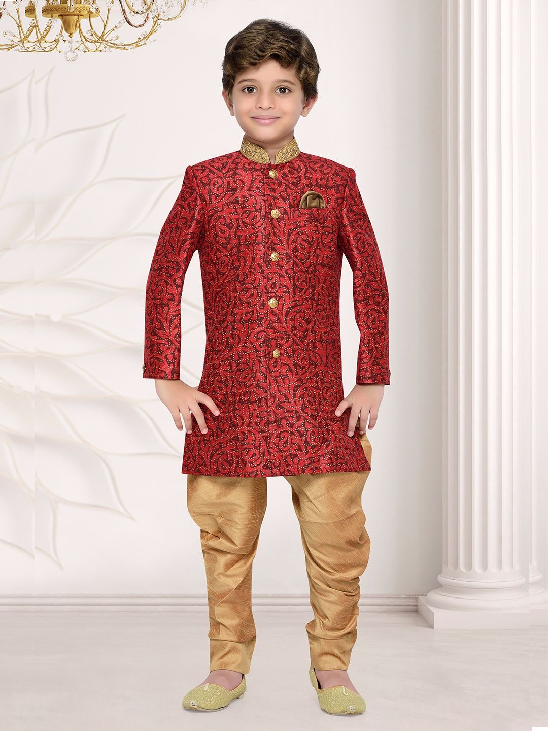 Red Classy Raw Silk Boys Indo Western | Boys Indian Fashion Wear ...