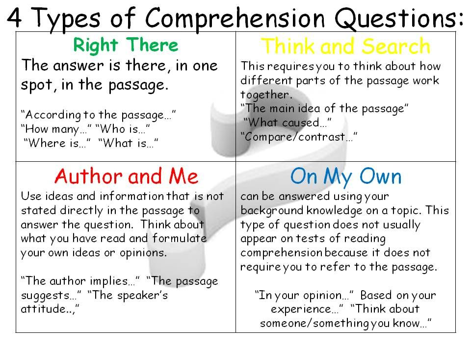 4 types of Comprehension Questions | Classroom/Teacher Ideas ...