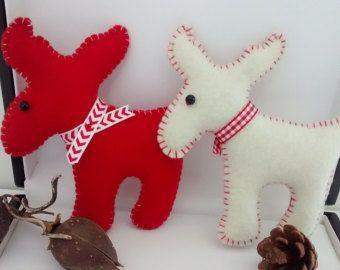 Felt moose christmas moose ornament primitive moose ornament