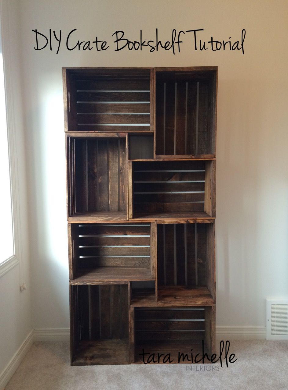 Diy Crate Bookshelf Tutorial Decoration Interieure Facile Idee De Decoration Et Bricolage Bois