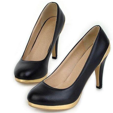 joker high stiletto heel gold paned black dress shoes