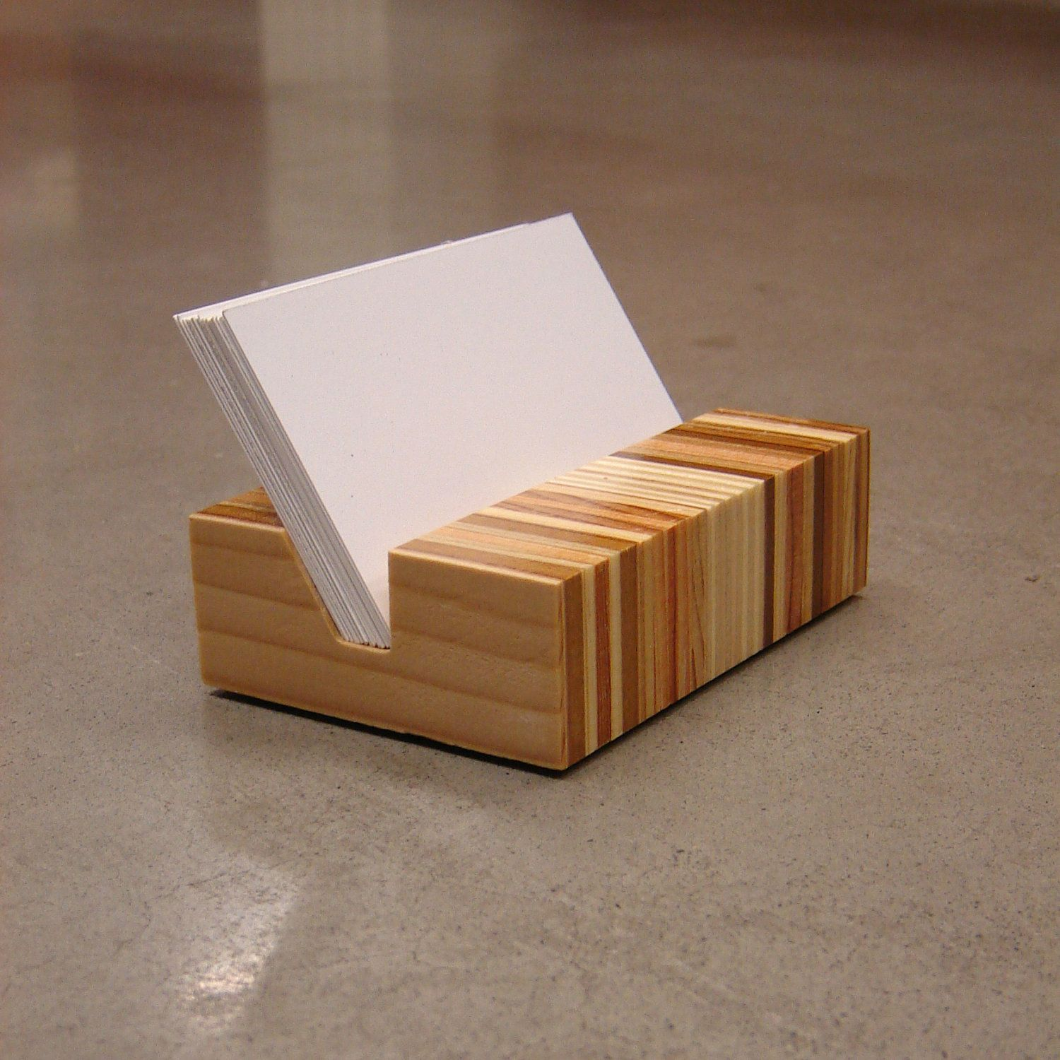 Retro Eames Era Inspired Minimalist Wood Business Card Holder ...