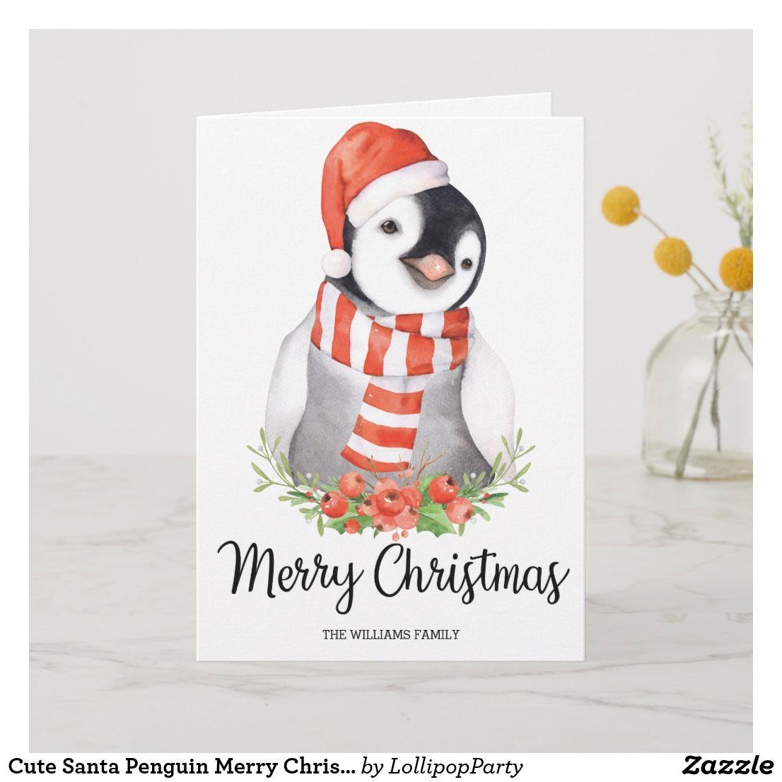 Cute santa penguin merry christmas greetings holiday card