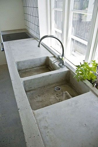 Kitchen. Love this cement sink & tabletop #concrete #cement #sink---This would be amazing in a garage or potting shed!