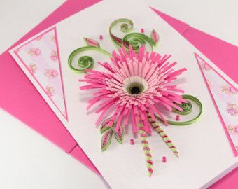 Mothers Day Card Mum Birthday Card Handmade Quilling Card For