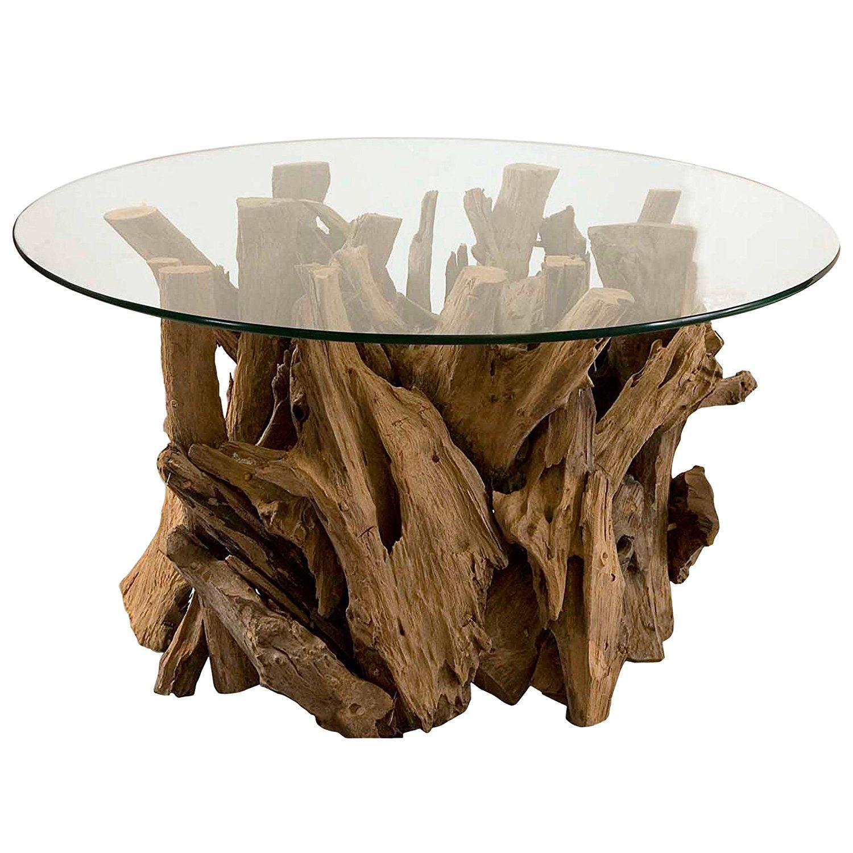 Amazon Com Plymouth Coastal Beach Teak Driftwood Round Glass Coffee Table Kitchen Dining Round Glass Coffee Table Driftwood Coffee Table Coffee Table Wood