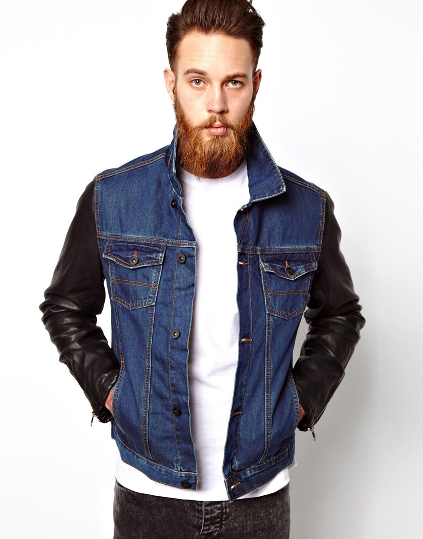 28 Asos Denim Jacket With Faux Leather Sleeve Denim Jacket Men Leather Sleeve Jacket Leather Jacket Men [ 1110 x 870 Pixel ]