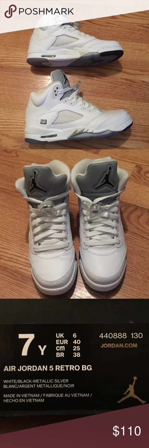 Air Jordan 5 Retro BG Mens jordans size 7Y. Fits a womens size 9.  my daughter wears a 9 and it fits her fine. Only wore twice Jordan Shoes Sneakers