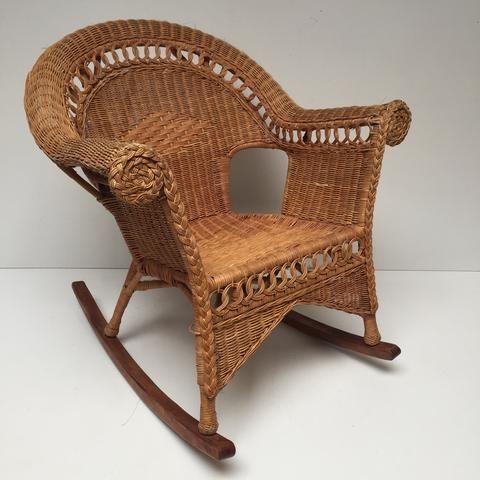 vintage rattan wicker boho adult rocking chair rocking. Black Bedroom Furniture Sets. Home Design Ideas