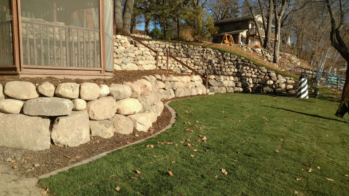 Backyard Boulder retaining wall | pride and joy landscape ...
