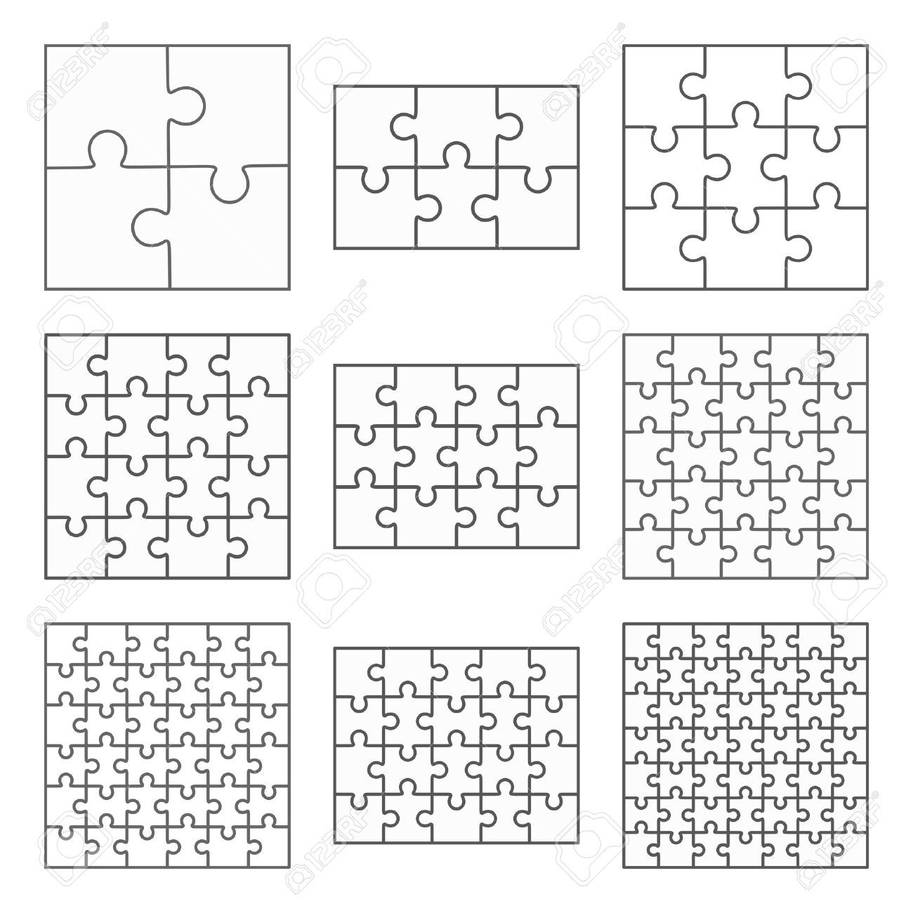Jigsaw Puzzle Nine Vector Templates Set Of Different Blank Simple Pieces Affiliate Vector Temp Puzzle Piece Template Puzzle Piece Art Jigsaw Puzzles Art