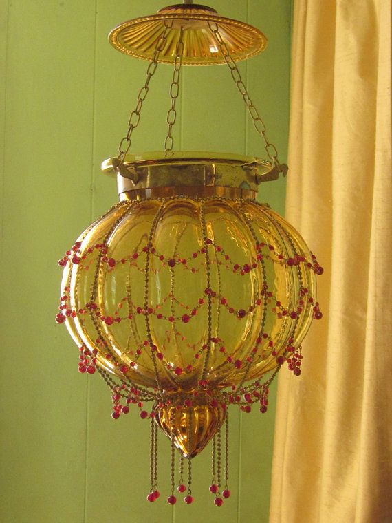 $275 Hanging Lamp Antique Amber Pumpkin Glass with Glass Beading ...