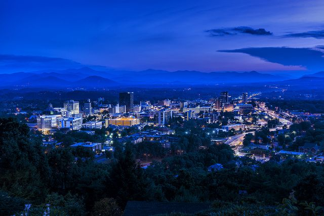 City Of Asheville North Carolina Mountain Town Night Skyline Blue Hour Photography