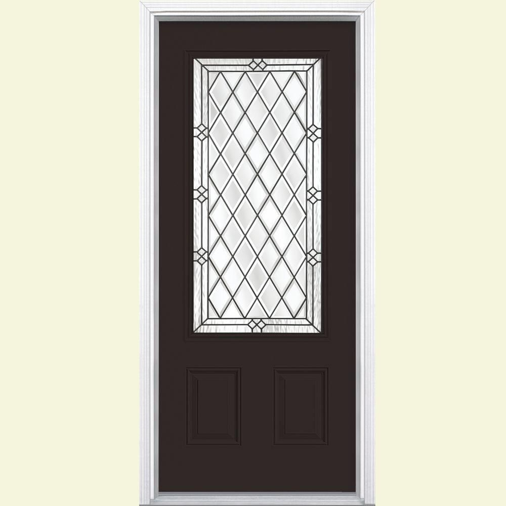 Exterior Door Frame Home Depot: Masonite 36 In. X 80 In. Halifax 3/4 Rectangle Painted