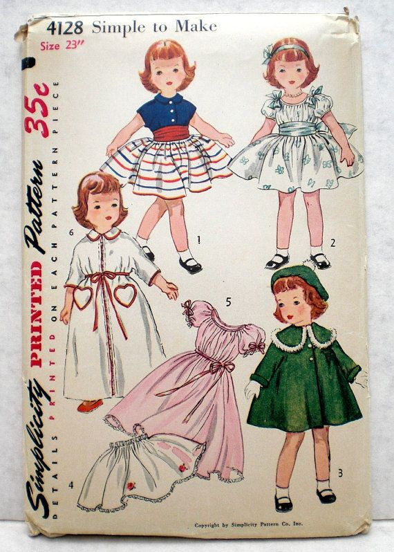 Vintage 1950s Doll Clothes Pattern Simplicity 4128 23 Inch Doll ...