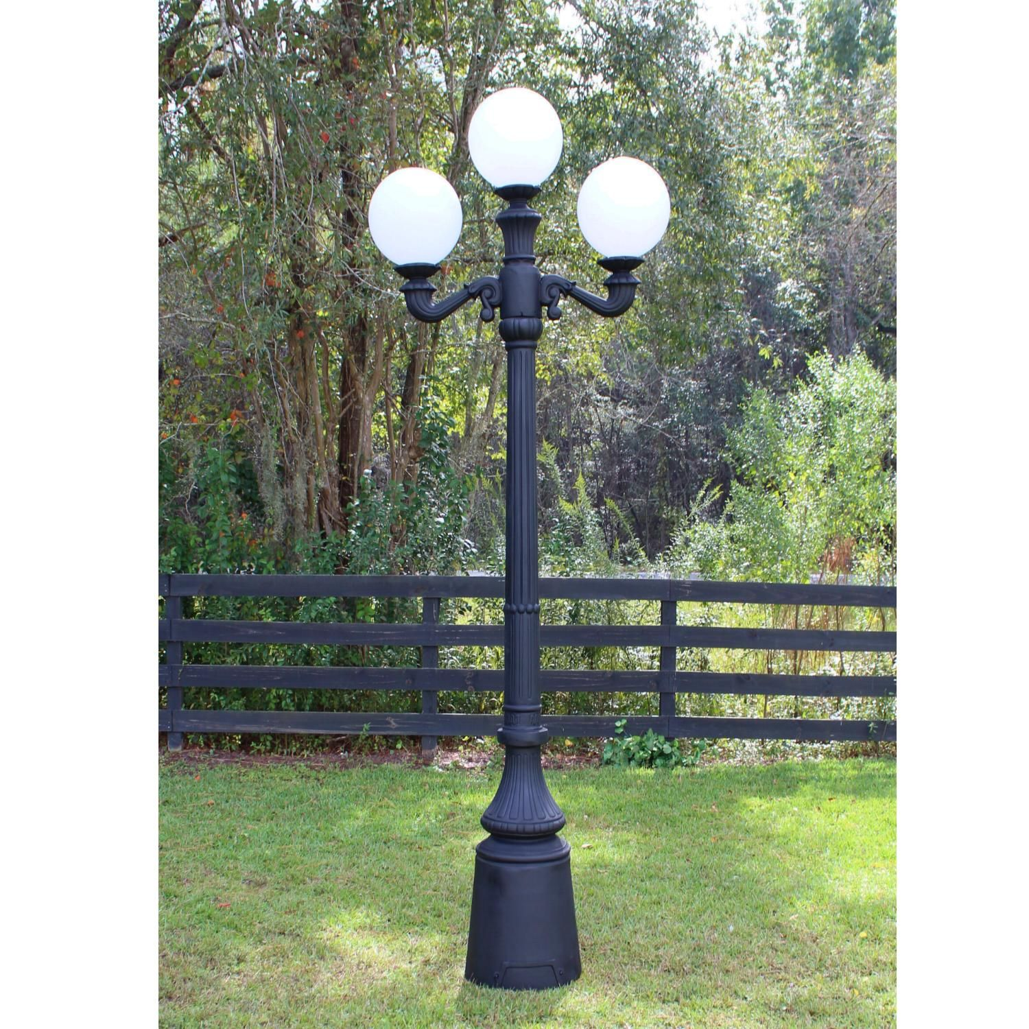Three Ball Pole Light Street Fixture Antique Style Outdoor Vintage