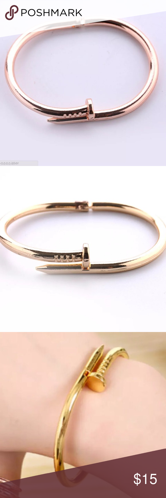 🆕 (O16) Gold Screw Nail Bracelet Gold screw nail bracelet. Bracelet made of zinc alloy. It's very strong and heavy duty. Has a locking mechanism on it so you don't lose it and a spring to open to fit wrists up to size 8. Jewelry Bracelets