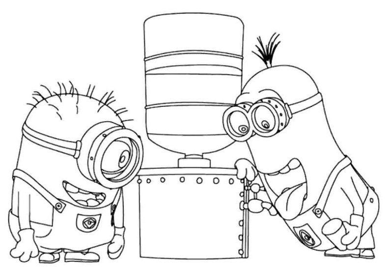 Coloring Book Minions : Minions aggiustano il distributore di acqua disegno da colorare