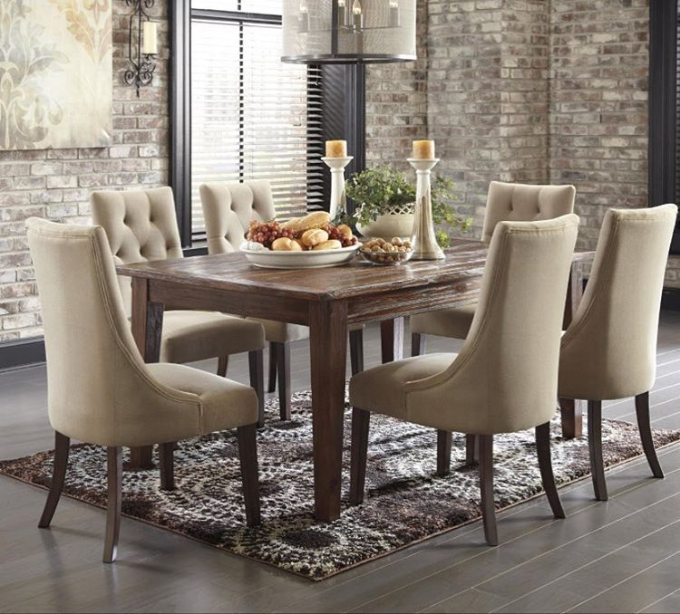 Signature Design By Ashley Mestler Dining Set With Upholstered Side Chairs