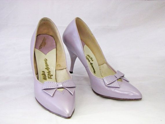 50 S Lilac P Toe Pumps With Bow Vintage High Heel Stiletto Shoes Size 7