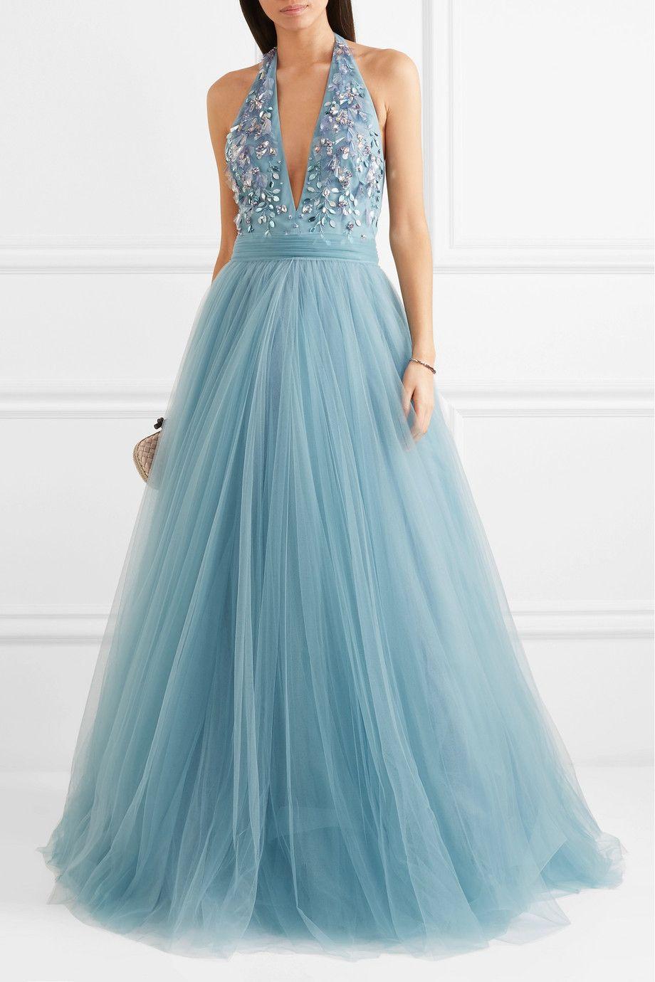 Jenny Packham | Embellished tulle halterneck gown | NET-A-PORTER.COM ...