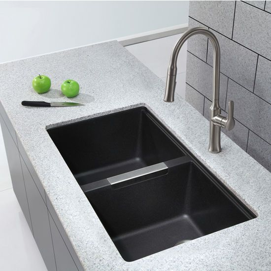 Kitchen Sinks, KGU-434B, 33-1/2'' Undermount 50/50 Double Bowl Black Onyx Granite Kitchen Sink by Kraus | KitchenSource.com