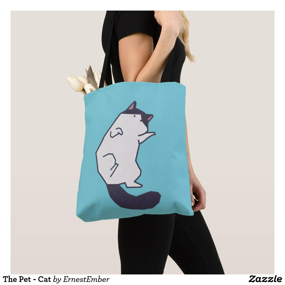 Cute Space Cat Design on Black Tote Bag  Gift for her  Gift for him  cat bag  Cheddar Studios