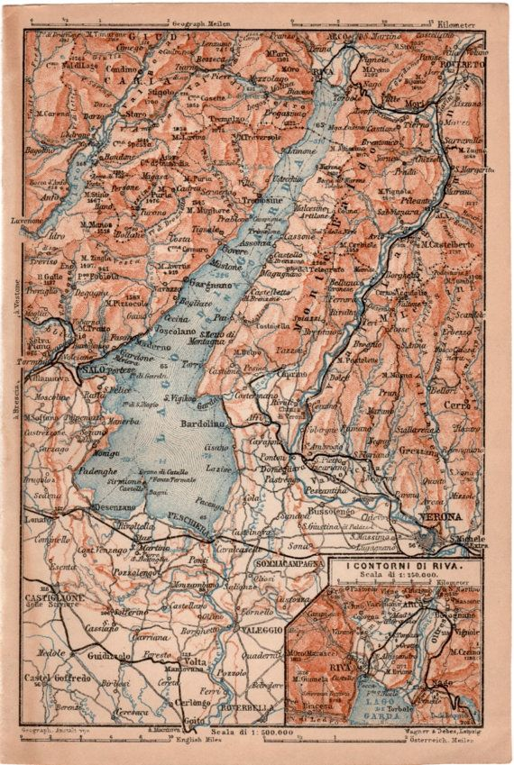 1903 Map Of Lake Garda Antique Map Vintage Lithograph Map Of