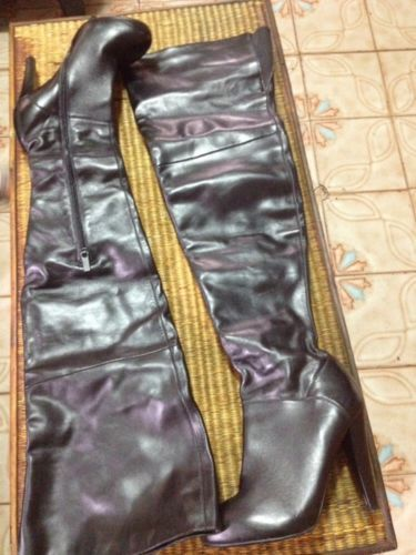 Womens-Victoria-Secret-Colin-Stuart-Black-Leather-Knee-High-Boots