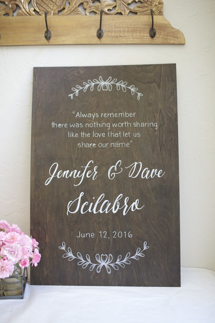 dark stained custom wood sign with names and date hand painted wedding welcome then home - Custom Signs For Home Decor