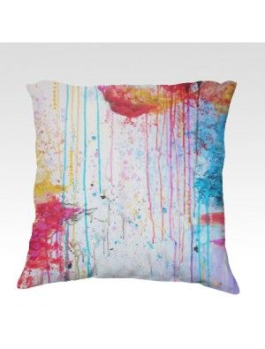Happy Tears Velveteen Pillow Gorgeous Super Soft Velveteen Decorative Throw Pillow by Ebi Emporium, Artist Julia Di Sano, Bold Vibrant Colors Home Decor Accessories