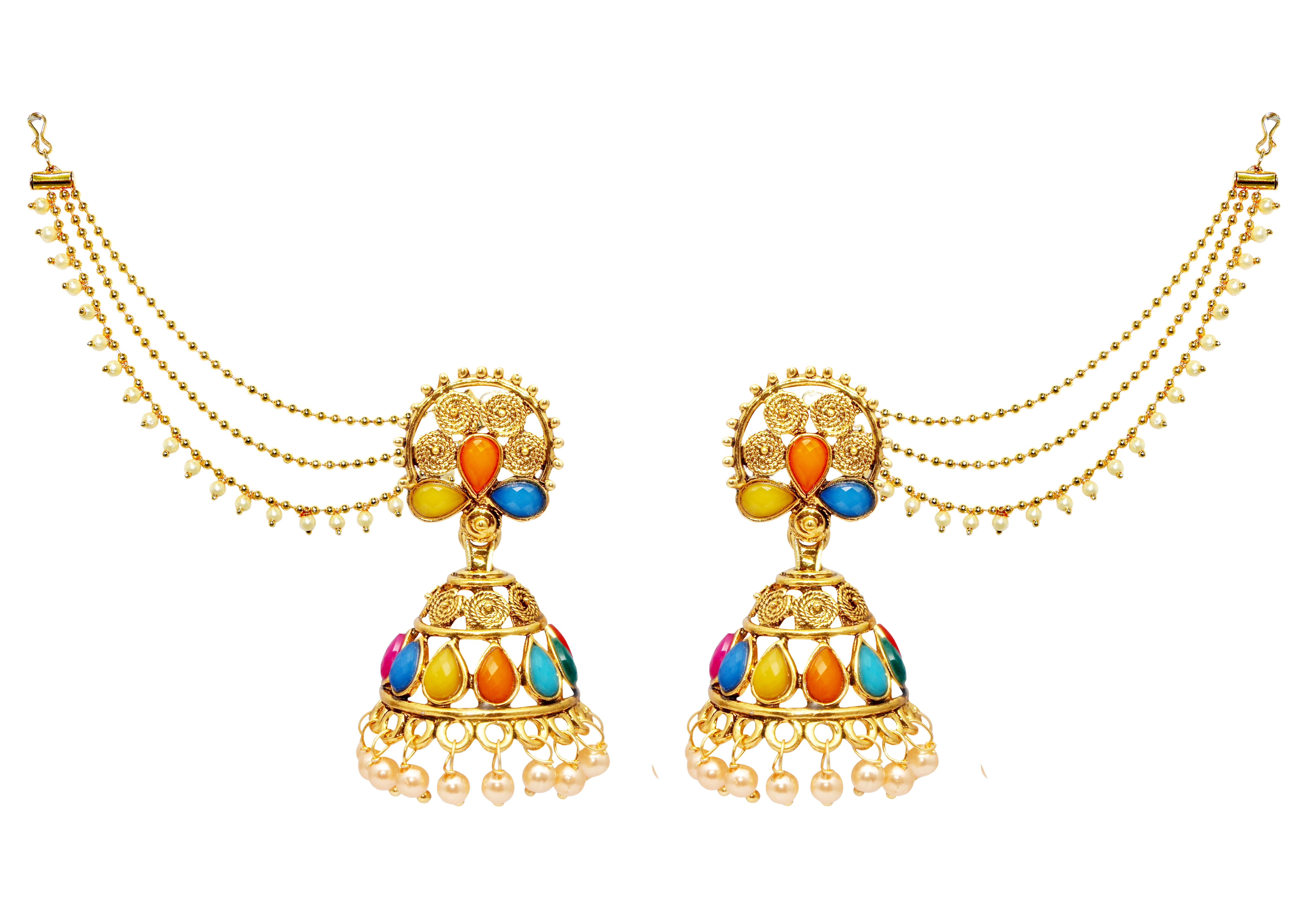 6173a7bfee6 Kriaa Gold Plated Multicolor Kundan Jhumki Kan Chain Earrings   Rs.299 -