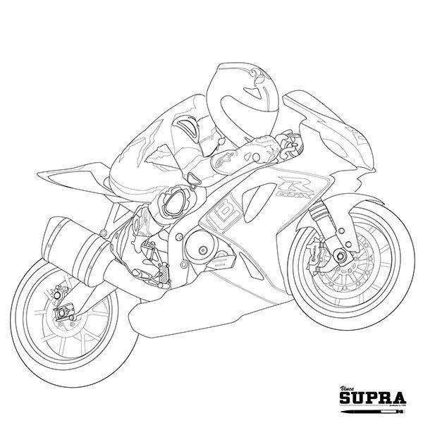 Motorcycle sketch line art : Lloyd Bayley and his Suzuki