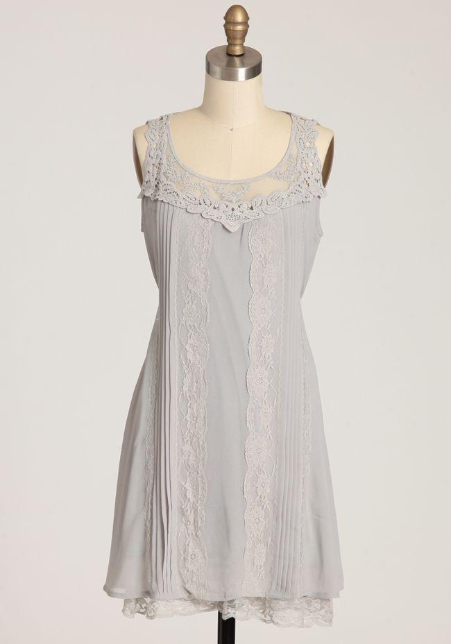 Jane Bennet Gray Croochet Applique Dress