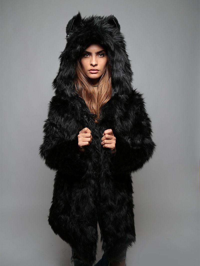 725bd88be Classic Black Wolf Faux Fur Coat | fashion | Coat, Faux fur, Fur coat