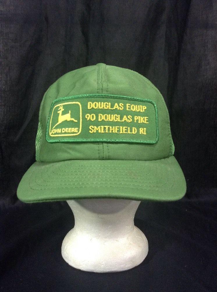 Vintage John Deere Hat Douglas Equip Pike Smithfield Rhode Island Green  Snapback  JohnDeere 58d71148690a