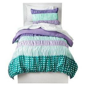 Circo Dots Amp Stripes Ruched Bed Set Purple Target Mobile Big Girl Bedrooms Bedding Sets Room
