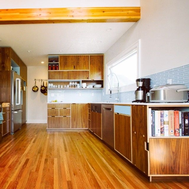 Made By Megg Kitchen Paint: Right Side Of A Walnut Europly Kitchen With Sky Color