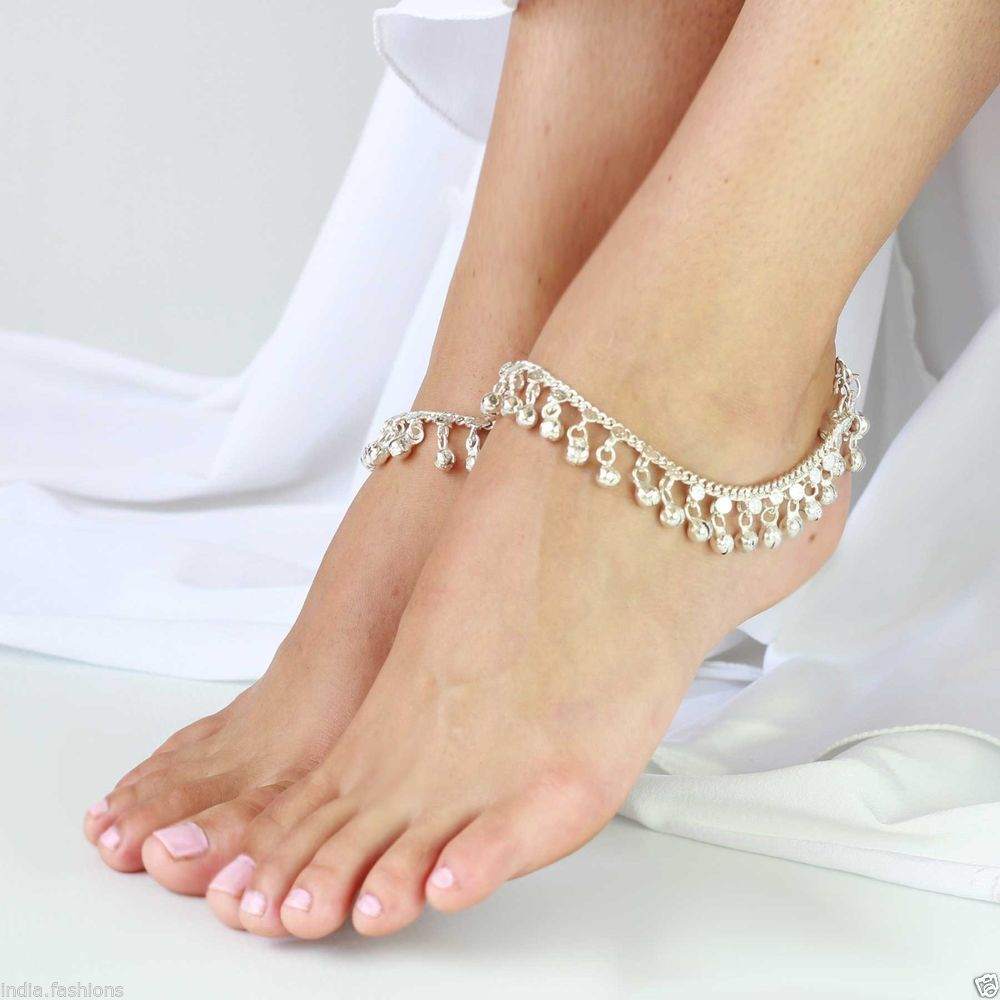 SILVER tone jingle bell chain ANKLET PAIR PAYAL feet bracelet ...