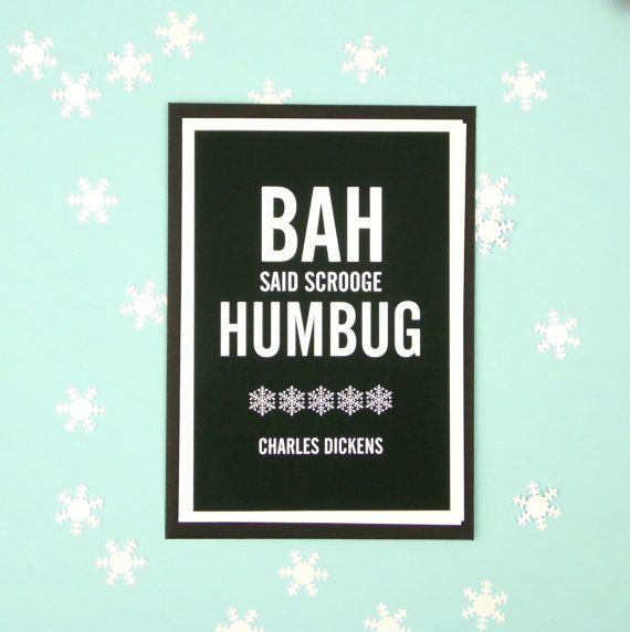 Bah Hum Bug Christmas Card. A Christmas Carol. Scrooge