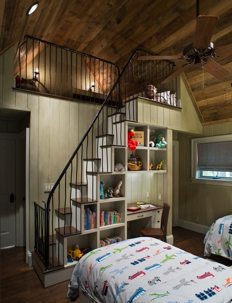 Stair Step Bookcase Cute Bed Bookshelves Books Stairs Window Ceiling Fan Lamps Rustic Kids Room Of The Best Combos To Be In Awe