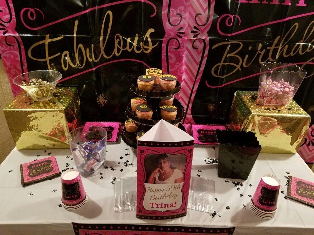 Pink Black And Gold 50th Birthday Decor